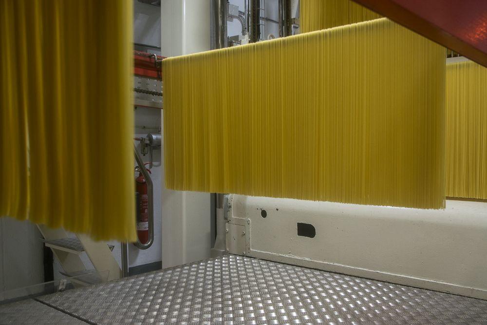 Los spaghettis requieren un proceso de secado de hasta 13 horas antes de ser empaquetada. / Iris Alemany.